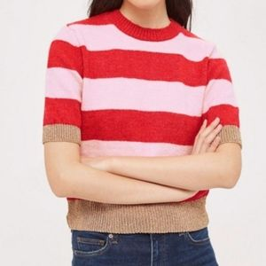 NEW TOPSHOP RED PINK GOLD STRIPE CROP SWEATER US 2